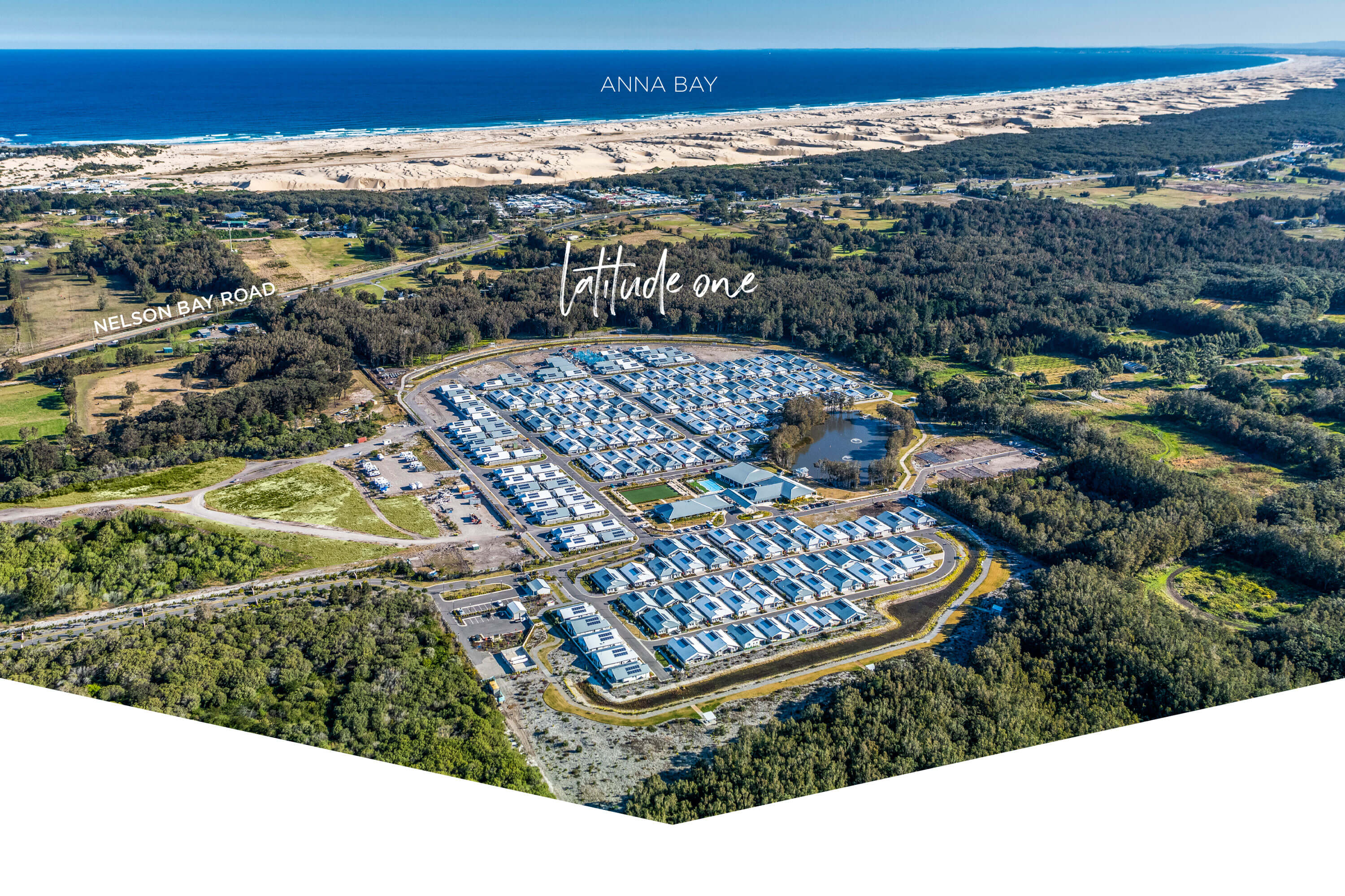 aerial of Latitude One in Port Stephens close to Anna Bay beach
