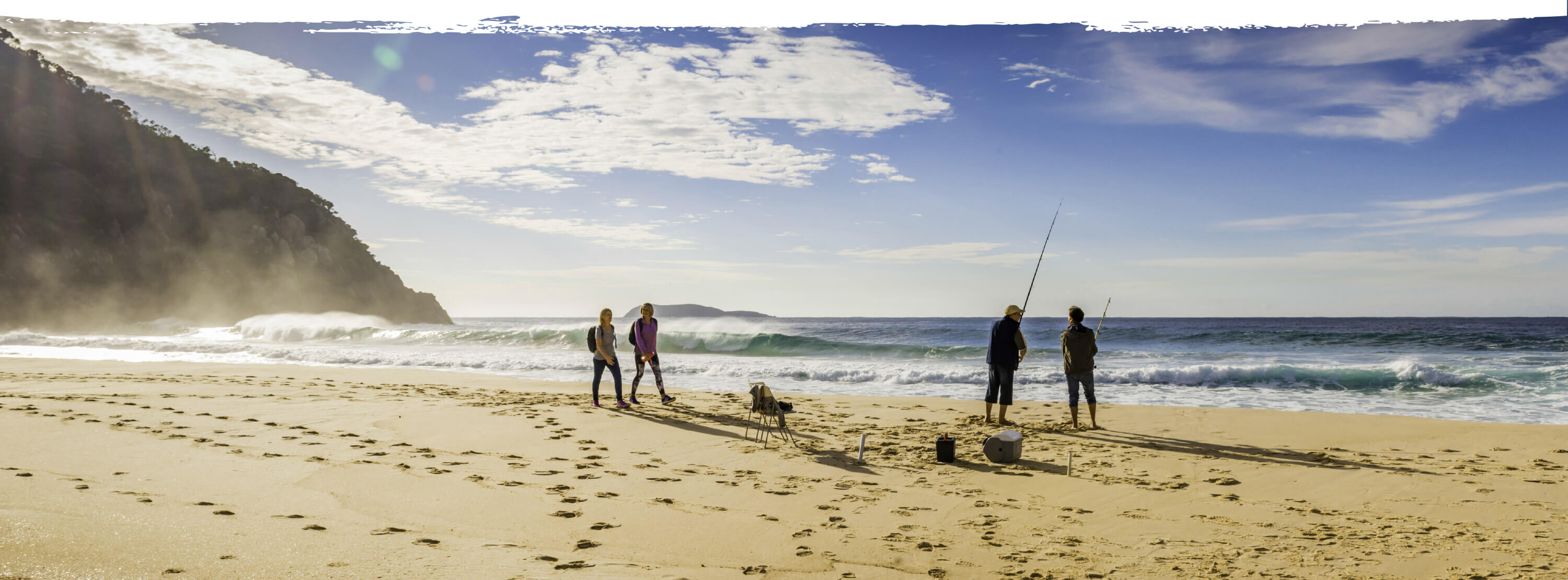 walking and fishing on the beach in Port Stephens