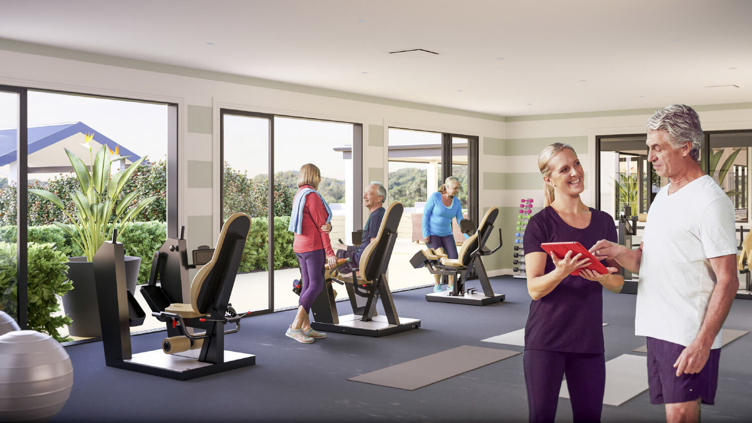 residents staying fit at the gym in Soulworks Wellness Centre