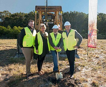 Breaking ground for the official start of construction
